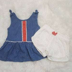 Little Lass Baby Girl Outfit Lace Shorts 18m